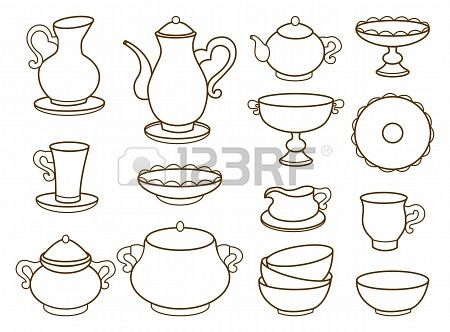 collection of porcelain tableware for tea  coloring book