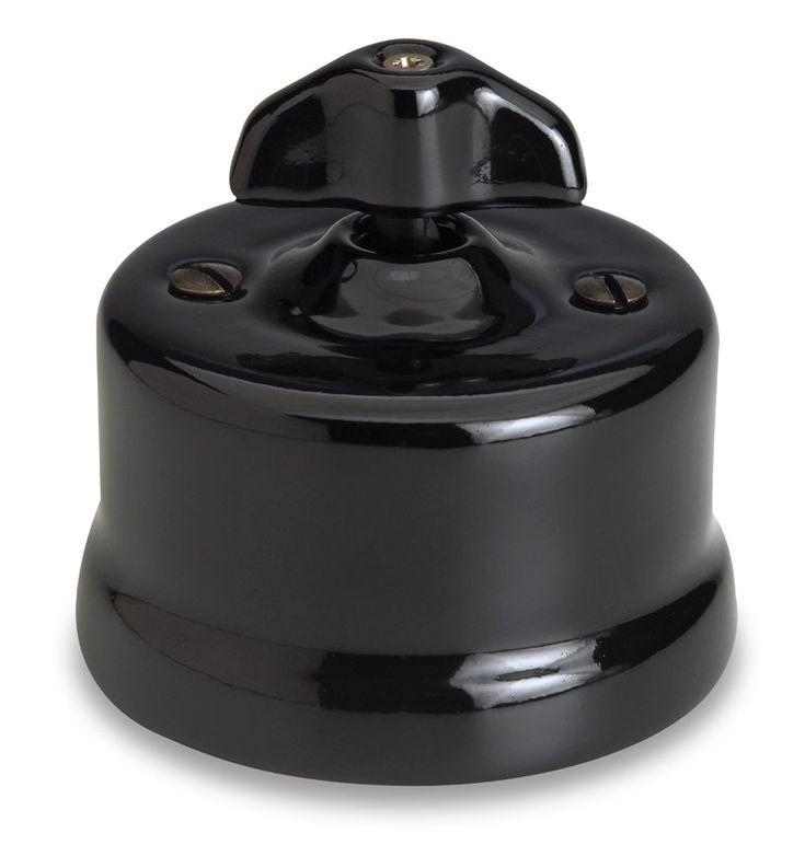 garby interrupteur porcelaine noire rotatif en applique. Black Bedroom Furniture Sets. Home Design Ideas