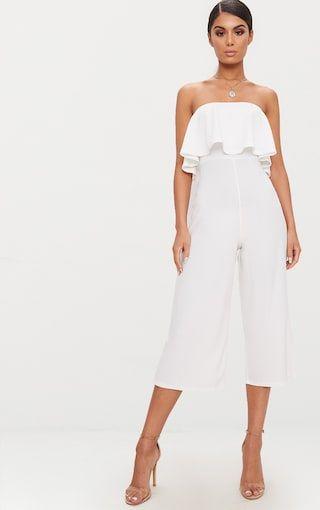 4a299381ecb White Bardot Double Layer Culotte Jumpsuit
