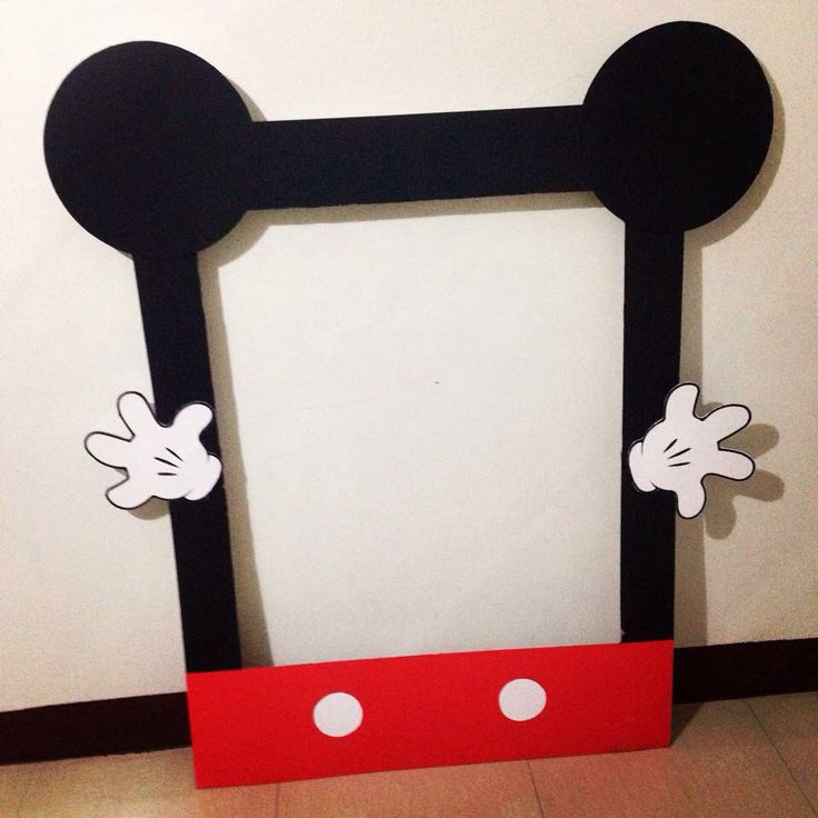 Our DIY Mickey Mouse photo booth frame. Thanks to Pinterest for the idea