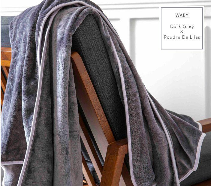 Francouzské deky tmavě šedé barvy se šedým obšitím