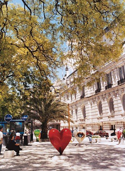 Argentina: Heart art sculpture in Buenos Aires, as seen here in the historic neighborhood of Retiro.