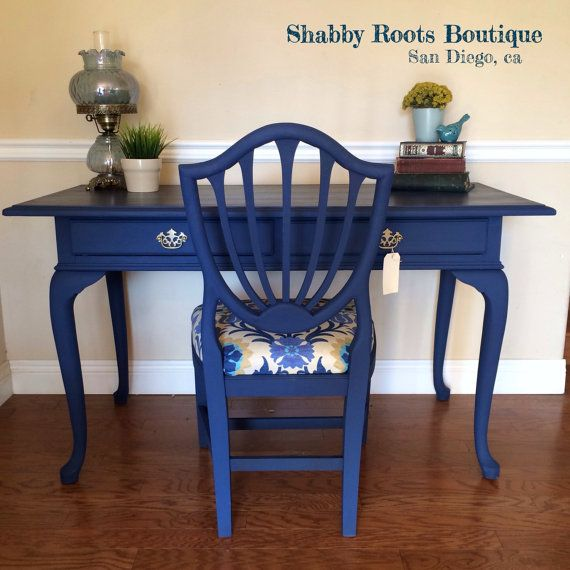 SOLD Cobalt Blue Desk With Chair Queen Anne By ShabbyRootsBoutique