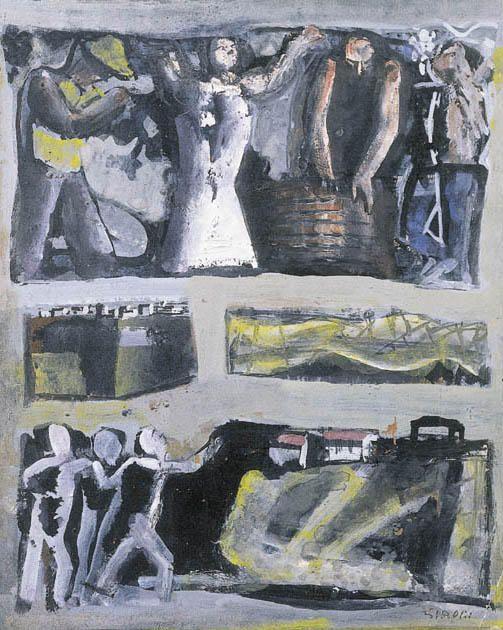 """Composition 6"" by Mario Sironi (1885-1961, Sardinia)"