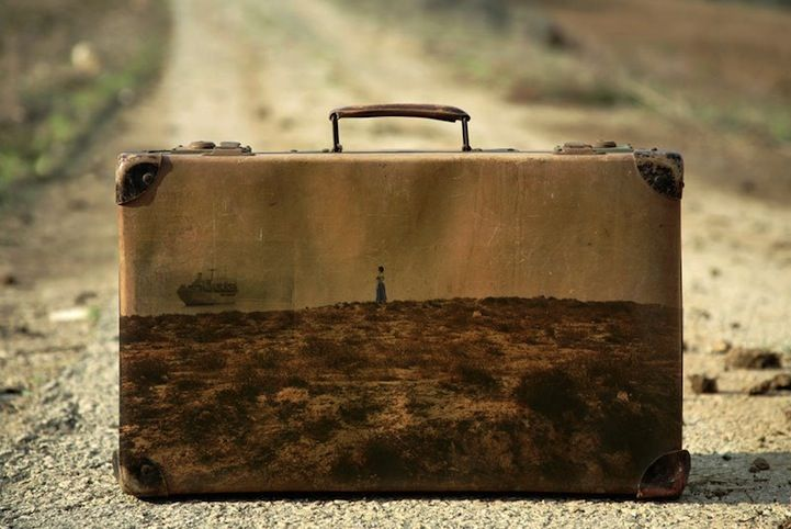 Memory Suitcases is a thought-provoking series by Israeli artist Yuval Yairi that uses old, worn suitcases as canvases for nostalgic landscapes.