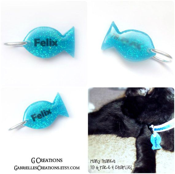 2016 SALE Blue Glitter Fish Cat Tag Custom by GabriellesCreations