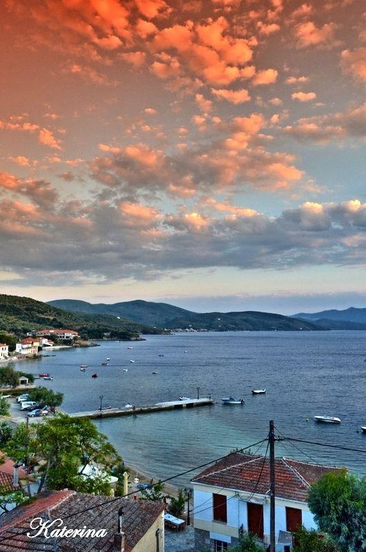 Greece, Magnesia, Milina, Horto, the orange sky
