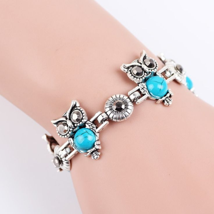 Cheap Fashion Retro Bohemian Style Owl Elephant Three-pieces Bracelet Online blue | Tomtop
