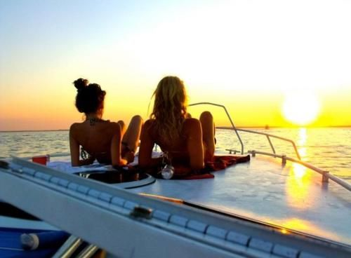 sunset on the boat.