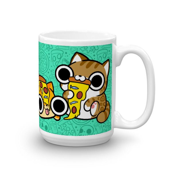 Cats,+pizza,+what+else+goes+better+with+your+favorite+drink?+This+15oz+mug+is+perfect+for+cat+lovers+and+pizza+lovers+alike+!  This+sturdy+white,+glossy+ceramic+mug+is+an+essential+to+your+cupboard.+This+brawny+version+of+ceramic+mugs+shows+its+true+colors+with+quality+assurance+to+withstand+heat...