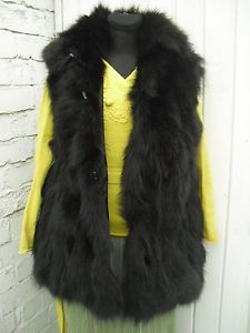 #winter#Christmas#real#black#fox#fur#gilet#vest#waistcoat#bodywarmer#
