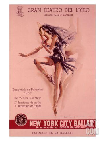 1956 New York City Ballet Poster Giclee Print at Art.com