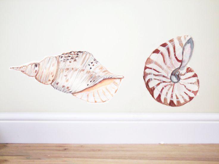 seashells,Shell wall decal,Individual Shell wall decal,Shell stickerShell wall decals,Nautical wall decal,Beach decor,sea wall decal, shell by TheWoodlandHaven on Etsy