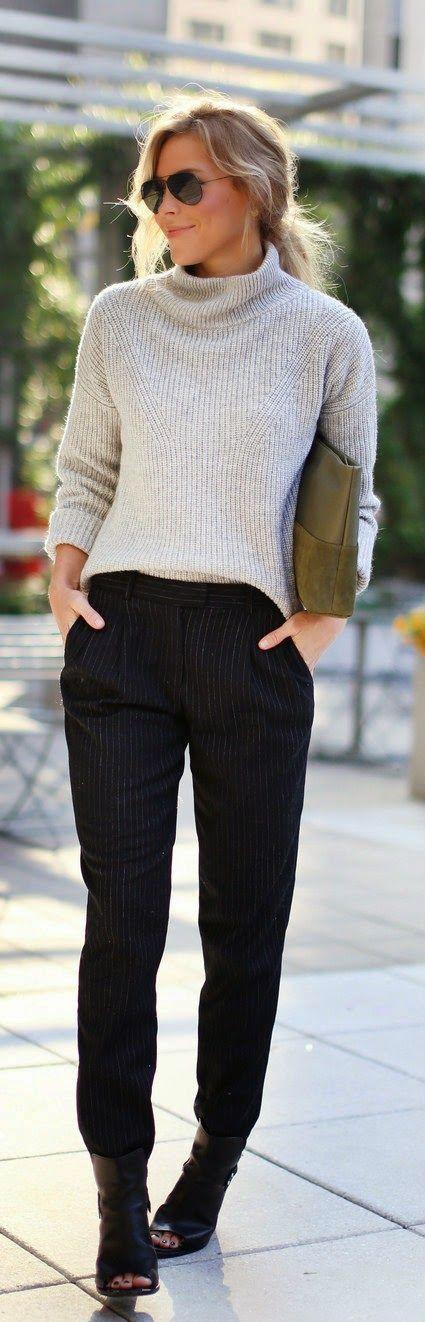 Work attire | cropped sweater | harem pants | booties | low bun