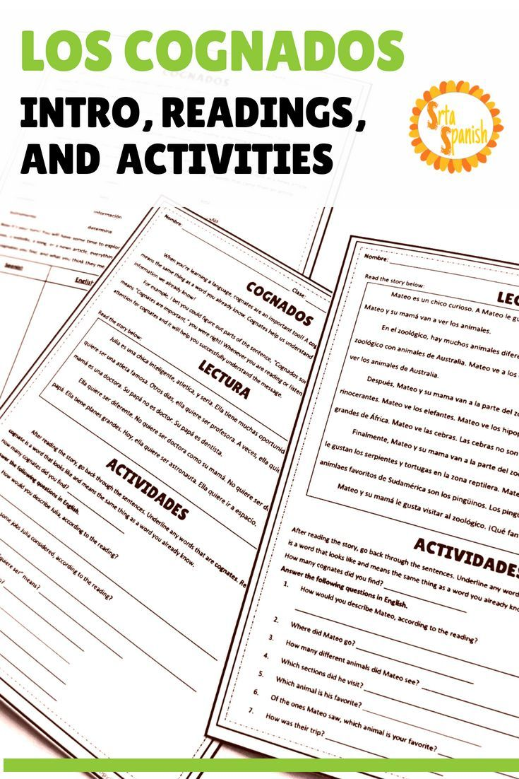 Worksheets Spanish Cognates Worksheet spanish cognates reading activities learning pinterest high school students and worksheets