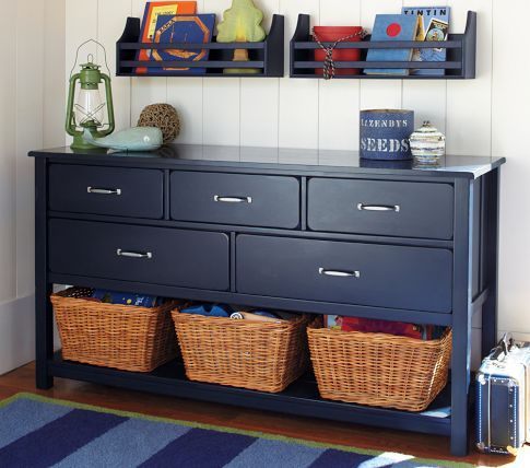 Navy furniture makes a nice change.