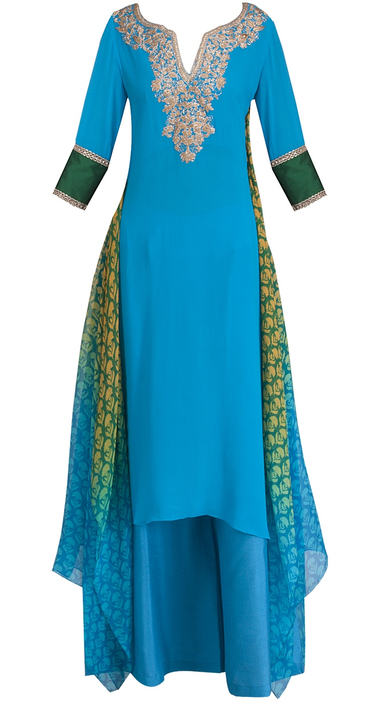 Turquoise Blue georgette kurta with kasab and dori embroidered neckline - front and back. It has asymmetrical block printed ombre chiffon side panels, comes with pallazo pants.