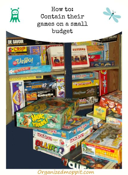 Game cupboards getting overcrowded.  Here is a simple inexpensive solution to tame the games