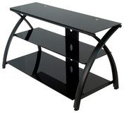"Calico Designs - Futura 3-Tier Glass TV Stand for Most Flat-Panel TVs Up to 46"" - Black"