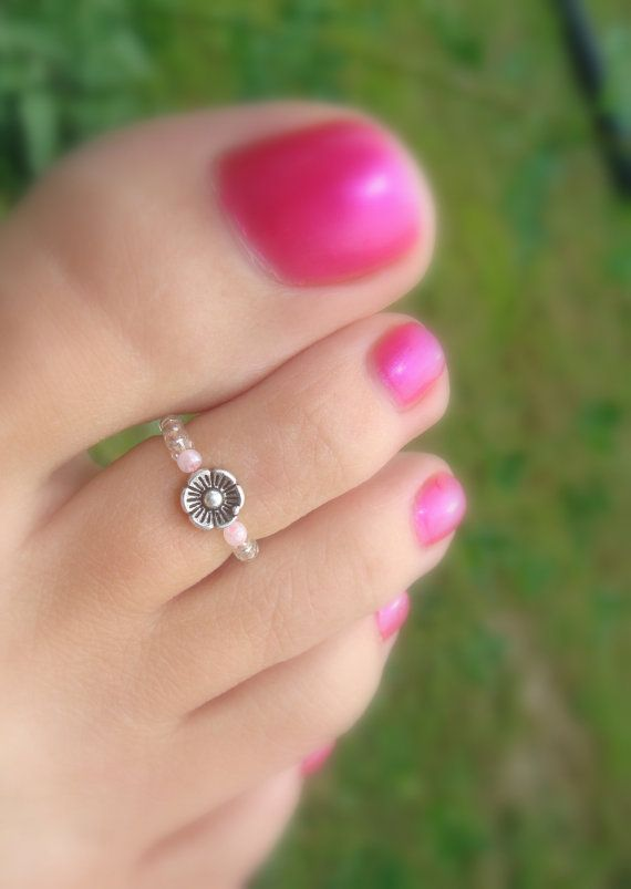 Toe Ring - Silver Dancing Baby Flower Stretch Bead Toe Ring (BOGO)