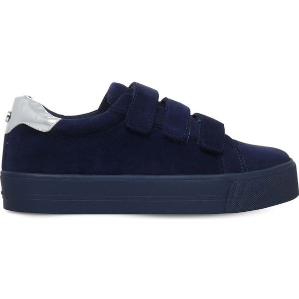 Carvela Lily suede trainers (€115) ❤ liked on Polyvore featuring shoes, sneakers, navy, navy shoes, suede sneakers, sport sneakers, velcro sneakers and suede shoes