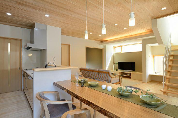 I-A house:リビングアクセスの階段はLDKを広く計画することができます。