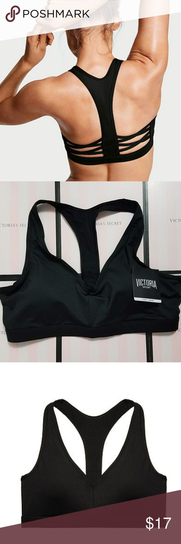 HP Victorias secret caged racerback sports bra Black NWT victorias secret caged racerback sports bra. Size Large.  A pullover style provides minimum support that is perfect for yoga, jogging, or other light activities!  The bra also has removable padding for support and shape, and cute detailing along the back.  Also features body-Wick technology!  Retails for $24.50, NWT.  According to the Victoria's secret website, a size large sports bra best fits bra sizes 38A-C or 36C-D. Victoria's…