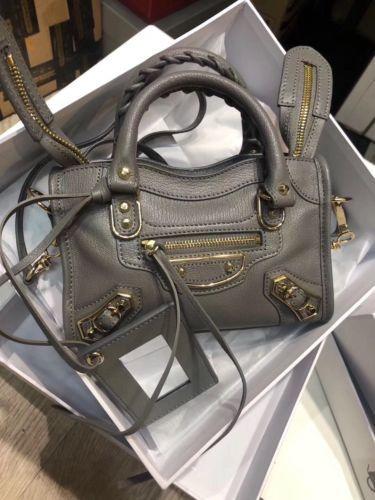 45429c590a BALENCIAGA Gray Leather Metallic Nano City Satchel Bag | Balenciaga ...