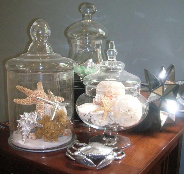 starfish, shells in glass jars