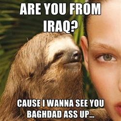 Are you from Iraq?  Cause I wanna see you baghdad ass up...