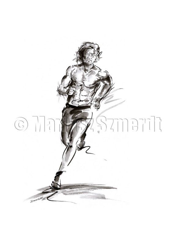 Sportswear Run Running Shoes Man sport olimpic design project fitness picture body original ink and watercolor painting