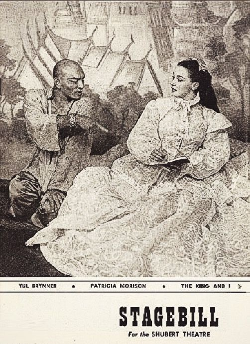 """Chicago, IL premiere of """"The King and I"""" at the Shubert Theatre (now called The PrivateBank Theatre, located at 18 W. Monroe Street) ... First National Tour ... November 22, 1954 - May 14, 1955 ... Scenic Design by Jo Mielziner ...  Choreographed by Jerome Robbins ... Music by Richard Rodgers ... Book and Lyrics by Oscar Hammerstein ...  Yul Brynner and Patricia Morison starred in the production."""