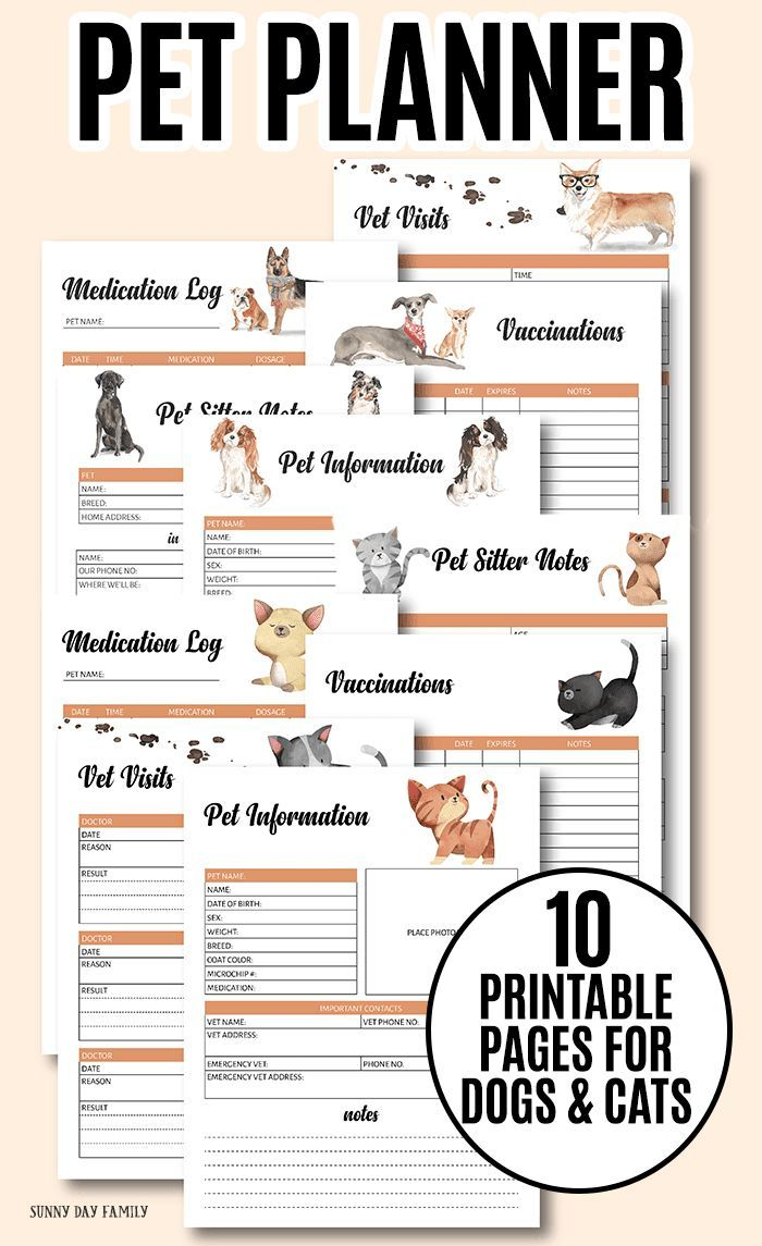The Printable Pet Binder You Need To Organize Your Pet Records Pet Care Printables Pet Medications Pet Care Tips