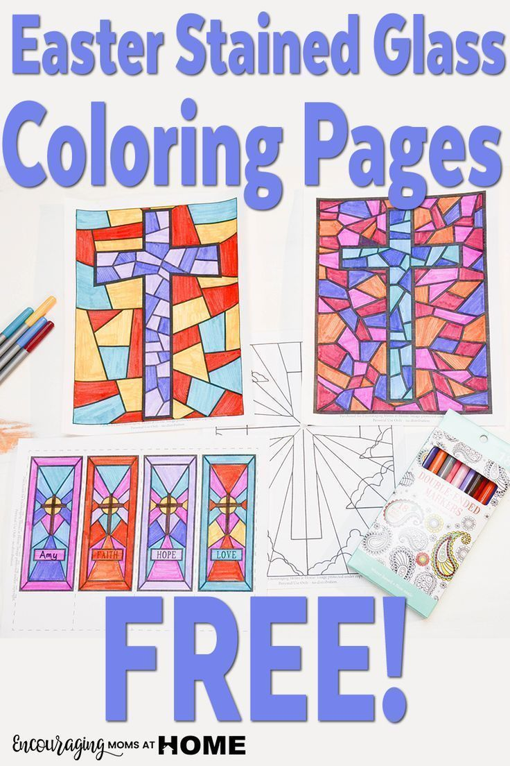 Free Stained Glass Coloring Pages and Bookmarks for Easter | Kids ...