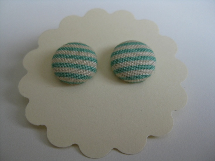 Blue stripe Cover Button Earrings. $7.00, via Etsy.
