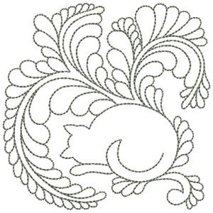 Sleeping Cat quilting embroidery design by Diane Gaudynski