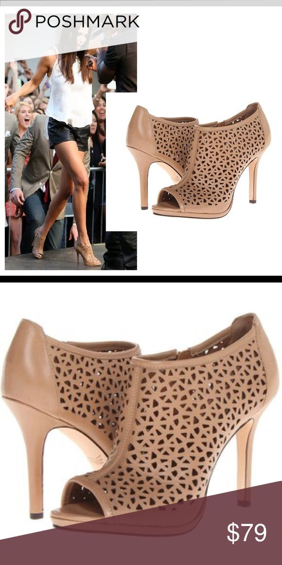 """Rachel Roy - WORN ONCE! Laser cut ankle booties As seen on TV, worn by Andi Dorfman on The Bachelorette . Rachel Roy Paavi Geometric Perforated Leather Ankle Bootie in Shade """"Natural"""" Peep toe. Perforated upper. Topstitch detail at vamp, upper and collar. Inside golden zip for ease of dress. Smooth heel counter. Covered 4"""" heel. Leather lining and sole. I wore these ONE TIME, but they are the wrong size and fell . You can see the soles are scratched a little and I got one heel stuck in…"""