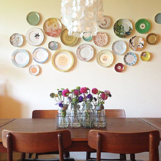 Flea market finds turn into beautiful dining table for Beautiful dining table centerpieces