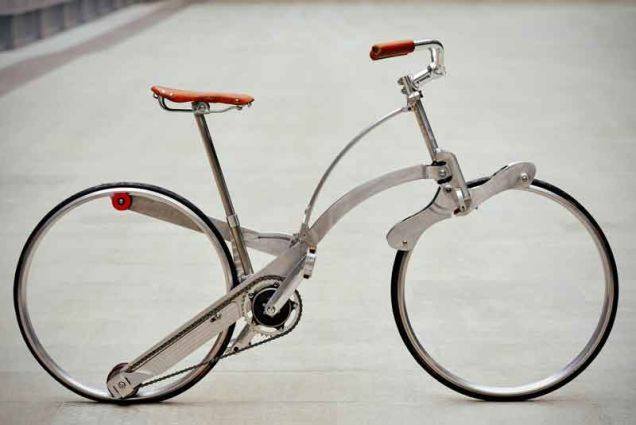 Cool idea. I suspect the ride isn't terrific. This Hubless Bicycle Folds to the Size of an Umbrella