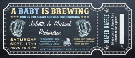 A Baby is Brewing Baby Shower Diaper Raffle Ticket Invitations #BabyShowerInvitations #BabyShowerDiaperRaffle #DiaperRaffle