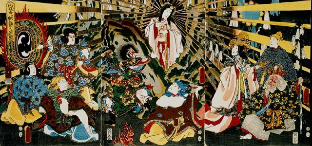 Amaterasu Emerges from the Cave,1786-1865, wood cut