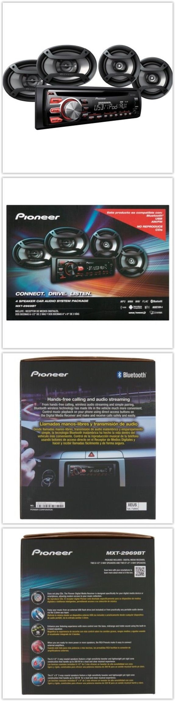 Car speakers and speaker systems car audio system package pioneer 4 speaker bluetooth stereo receiver