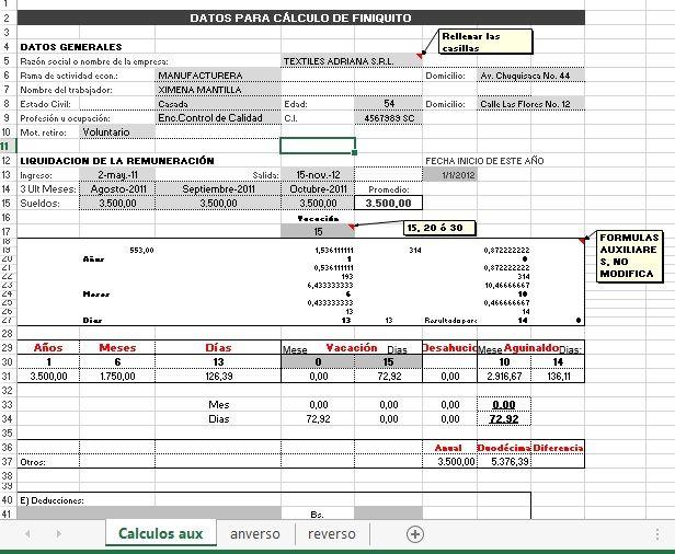 Simulador Calcular de Finiquito - Mi Trabajo Bolivia