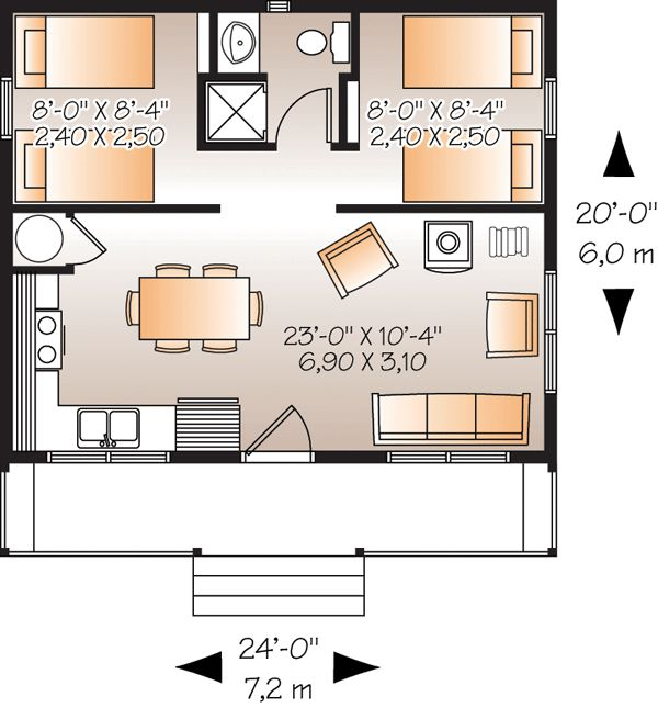 First Floor Plan of Cabin   Vacation   House Plan 76166
