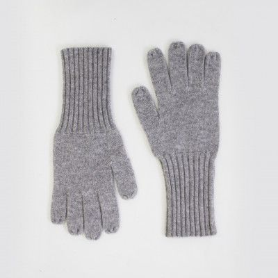 Redcurrent Grey 100% Cashmere Ribbed Gloves $69.50