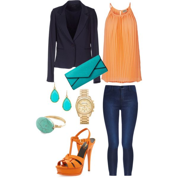 """Orange, aquamarine and dark blue combination"" by kristhina on Polyvore"