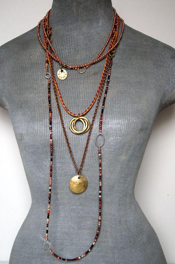 Layered Vetro e Metallo copper, brass, leather, chain and glass jewellery!