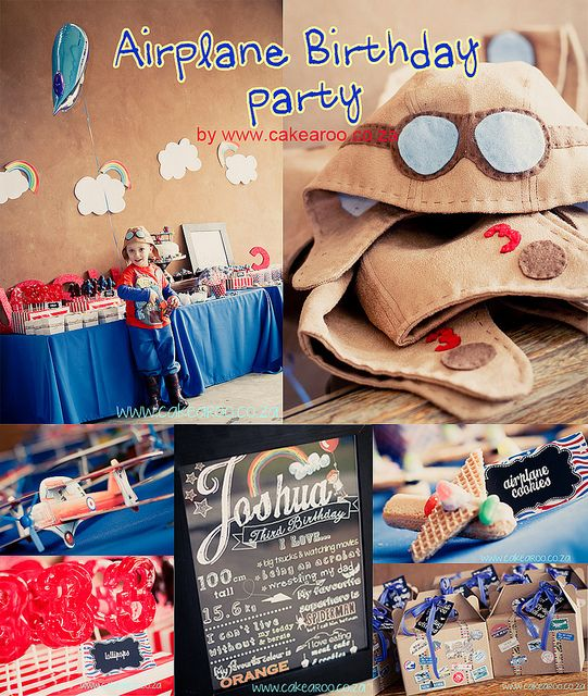 Airplane Birthday Party Aviator Boys Kids Red Blue Aviation Flying