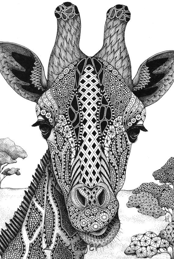 Llanuras de Serengeti - enmarañado de impresión de tinta original jirafa
