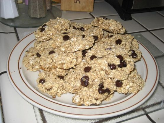I was searching for something sugar-free to take to a bake sale, and came across a recipe similar to this online.  This is my modified version of that recipe. These sold quickly at the bake sale! They have a granola-like appearance and are soft and chewy.  A little cinnamon added in might be good, too.